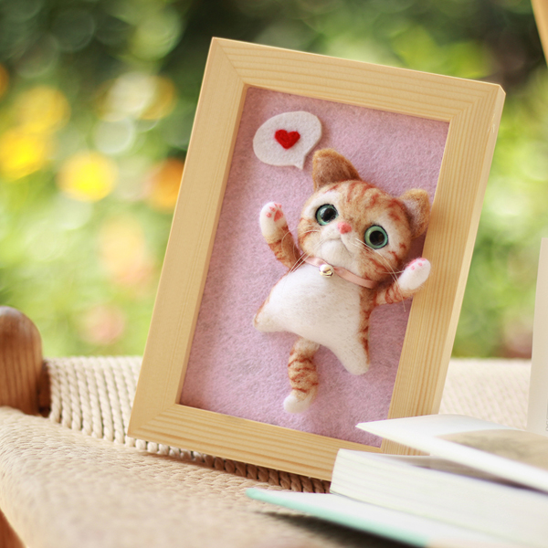 Lovely Cat Wool Roving Needle Felting Kit Supplies