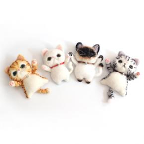 Wool Felt Cats Animal Brooch DIY Supplies Kit